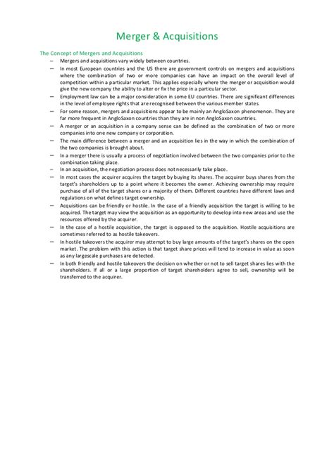 Merger And Acquisition Notes For Mba by Merger Acquisitions Notes Bec Doms