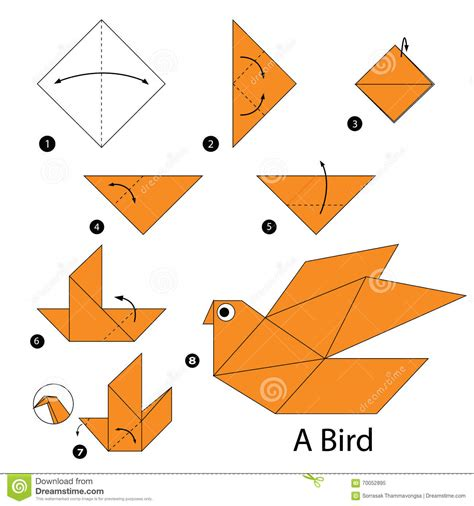 How To Make Paper Birds Origami - step by step how to make origami a bird