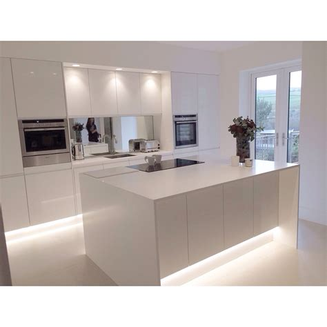 corian island modern white gloss integrated handle kitchen with 18mm