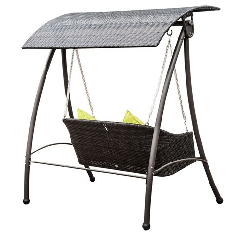 pe rattan wicker two seats swing chair with canopy leisure rattan outdoor 2 seat swing ideal home show shop
