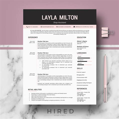 modern resume format in word modern resume template for ms word quot layla quot hired design studio