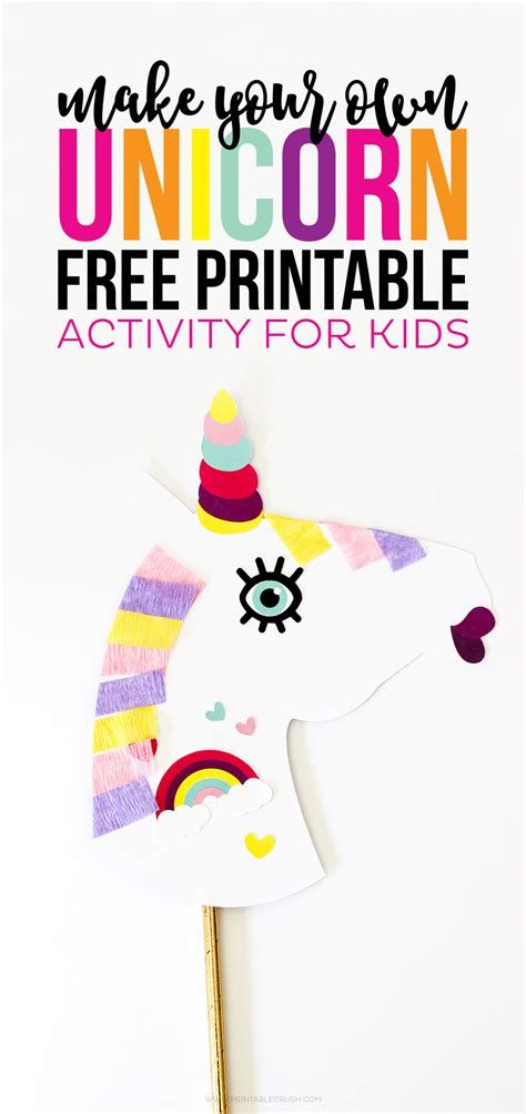 Make Your Own Unicorn Free Printable Activity Printable Crush Unicorn Craft Template
