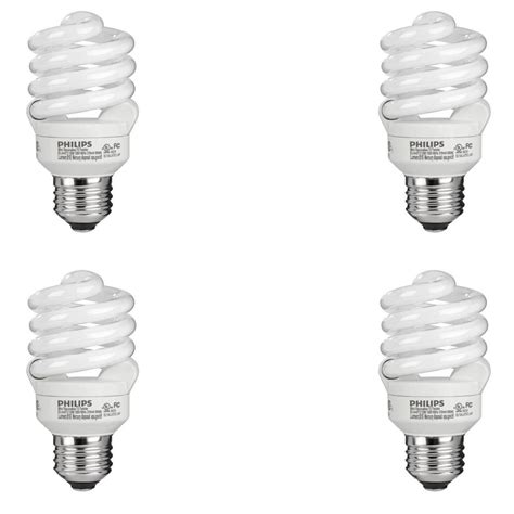 slotted base christmas bulbs philips 60 watt equivalent t2 spiral cfl light bulb daylight 6500k 4 pack 434399 the home