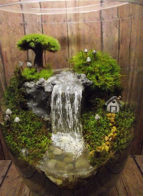 Handmade Terrarium - add a miniature waterfall pond or river to your