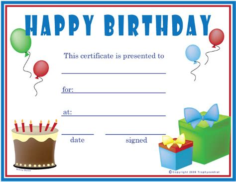 Printable Happy Birthday Gift Certificates | birthday certificate templates 26 free psd eps in