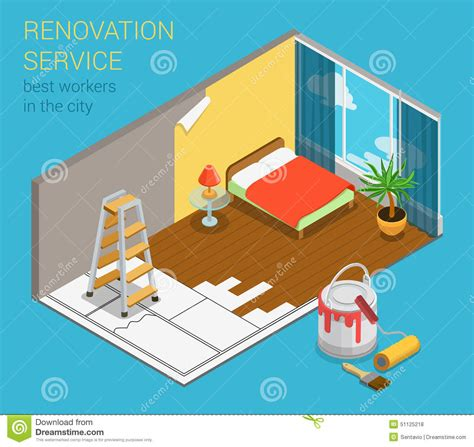 home renovation service business flat 3d isometric web
