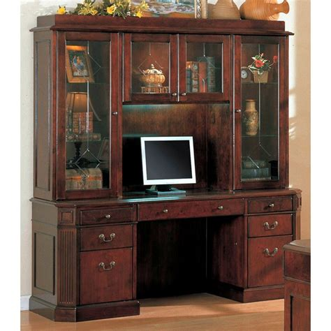 Computer Desk With Hutch Cherry Youngtown Cherry Credenza Desk With Hutch Dcg Stores