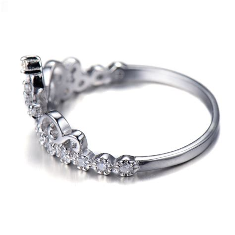 dainty rhodium plated 925 sterling silver princess crown