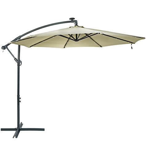 10 Foot Patio Umbrella Sunnydaze Steel 10 Foot Offset Solar Led Patio Umbrella With Cantilever Crank Ebay
