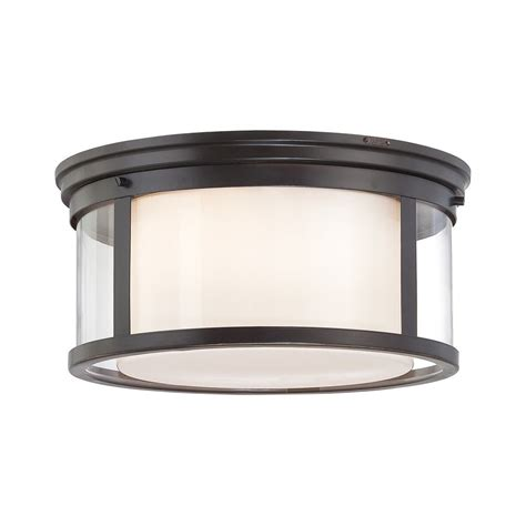 Quoizel Flush Mount Ceiling Light Shop Quoizel Wilson 15 In W Palladian Bronze Flush Mount Light At Lowes