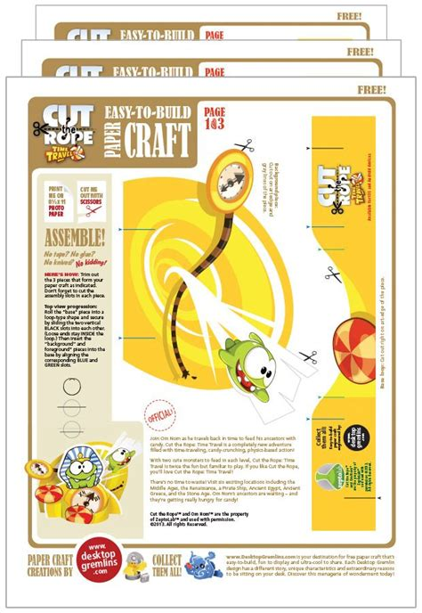 Cut The Rope Papercraft - cut the rope time travel papercraft desktop gremlins