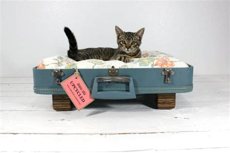 upcycled cat bed vintage suitcase upcycled blue pet bed by atomicattic on etsy