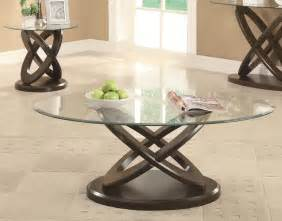 Atom oval glass coffee table with unique wood ring base