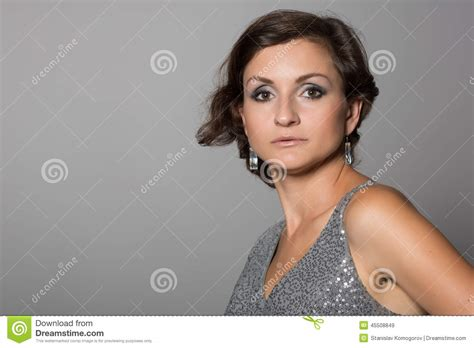 pic of 36 yr old woman with grey hair beautiful brunette stock photo image 45508849