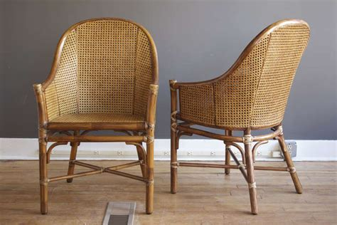 dining chairs set of 6 chairs seating set of six rattan and cane dining chairs by mcguire at 1stdibs