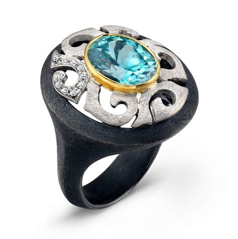 sterling silver and 18k gold blue zircon ring by alishan