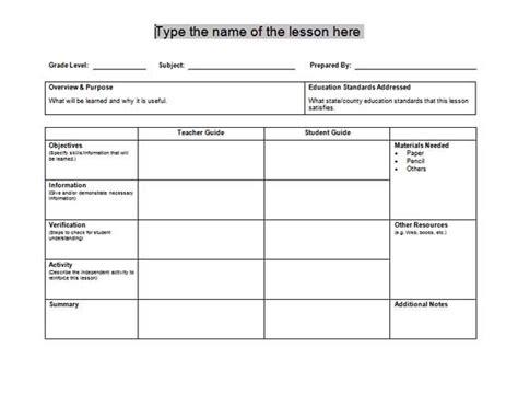 printable lesson planner free printable lesson plan