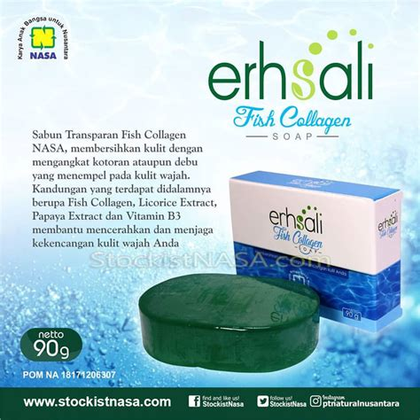 Resmi Collagen erhsali fish collagen soap nasa sabun pengencang wajah