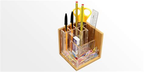 Furniture Kitchen Sets pen holder stationary stand bamboo pensil pot office