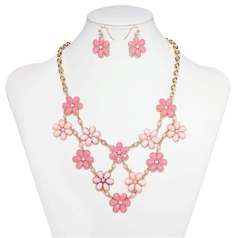 Flower Jewelry Necklace Pink by Flower Bib Necklace Jewelry Set Gold Link Flower Statement