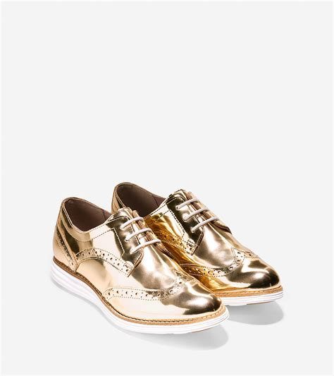 gold oxford shoes lyst cole haan 216 riginalgrand wingtip oxford in metallic
