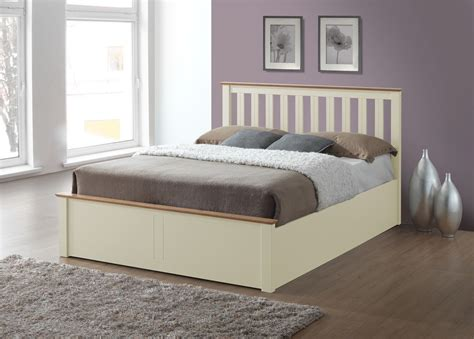 ivory ottoman bed phoenix wood ottoman bed frame storage double 4ft6 cream