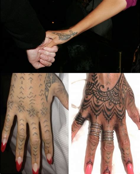 rhianna hand tattoo discover the secrets 18 of rihanna s tattoos ritely
