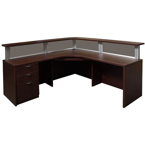 Reception Desk Glass 0901 New Mahogany 72 Inch Laminate L Shape Reception Desk