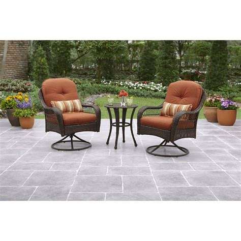 bistro sets outdoor patio furniture 3 bistro set 2 swivel patio chairs and table wicker