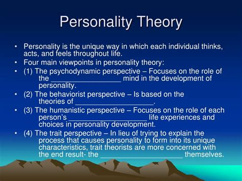 personality theories ppt theories of personality michael jackson powerpoint