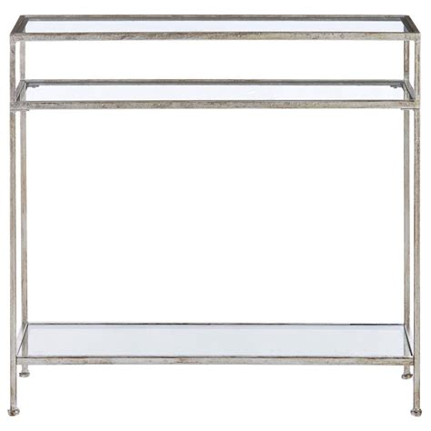 home decorators console table home decorators collection aged silver narrow glass