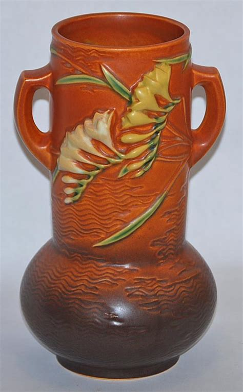 Roseville Freesia Vase by Roseville Pottery Freesia Brown Vase 126 10 From Just Pottery