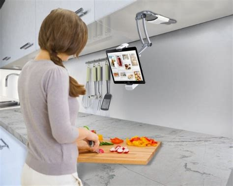 Kitchen Tablet Holder by 50 Cool Kitchen Gadgets That Would Make Your Easier