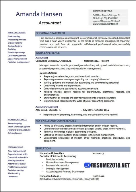 Accountant Resume Exles 2018 Resume 2018 Word Resume Template 2018