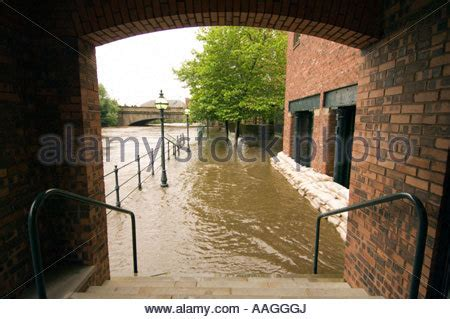 flooded river aire submerged tow path at brewery wharf