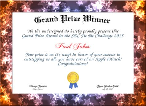 grand prize winner certificate created with