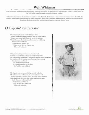 Poetry Worksheets Middle School by Walt Whitman Quot O Captain My Captain Quot Worksheet