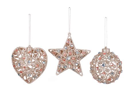 3 x jewelled vintage style christmas tree baubles