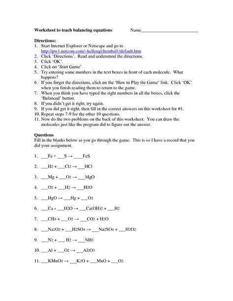 Balancing Equations Worksheet Answers by 28 Unbalanced Equations Worksheet With Answers