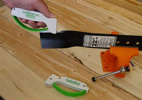 how to sharpen a lawnmower blade with a bench grinder gardensharp tool sharpener