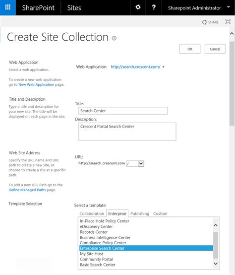 create sharepoint site template create enterprise search center in sharepoint using
