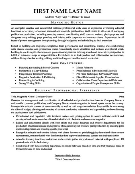 Editor Resume by Managing Editor Resume Template Premium Resume Sles