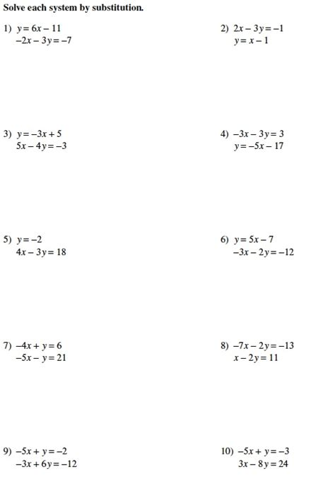 Solving Systems By Substitution Worksheet by Worksheets Solving Systems Using Substitution Worksheet