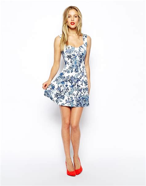 A Printed Neck Dress From Asos by Lyst Asos Skater Dress With Sweetheart Neck And Floral