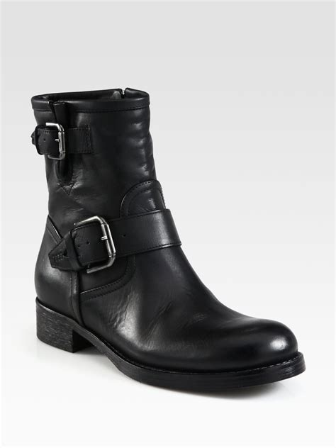 motorcycle boots buckle lyst alberto fermani leather buckle motorcycle boots in