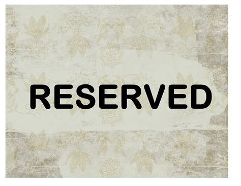 Reserved Sign Template Word reserved sign