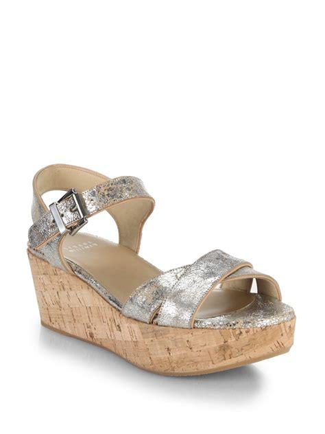 silver cork wedge sandals stuart weitzman cracked metallic leather cork wedge