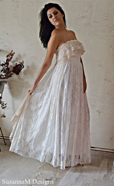 Handmade Wedding Dresses - bohemian wedding dress ivory lace wedding dress by