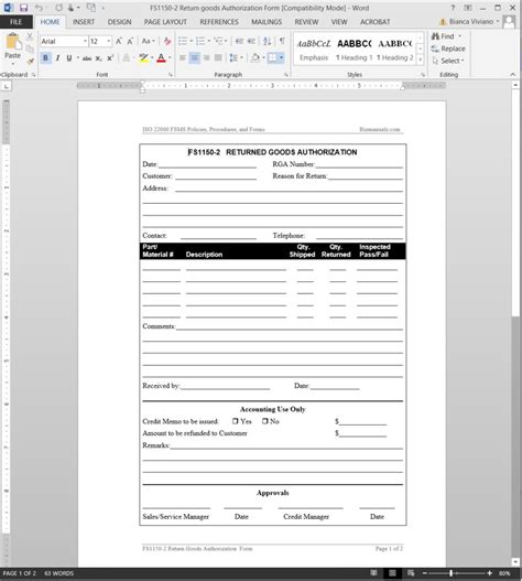 fsms returned authorization template