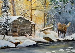 Fur Duvet Cover Trapper Cabin Moose Painting By Alvin Hepler